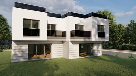 Bauträgerprojekt Doppelhäuser mit 5 Zimmern - weiße versus anthrazit Fenster